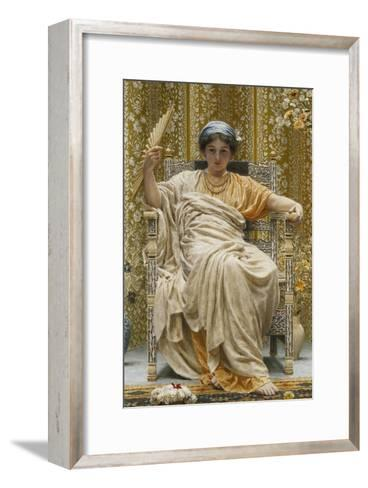 A Revery- a Look of Sadness on a Restful Face - She Hath No Cares - a Thing Hereditary in the…-Albert Joseph Moore-Framed Art Print
