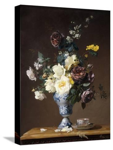 Roses and Other Flowers in a Blue and White Vase and a Teacup on a Ledge, 1876-Francois Rivoire-Stretched Canvas Print