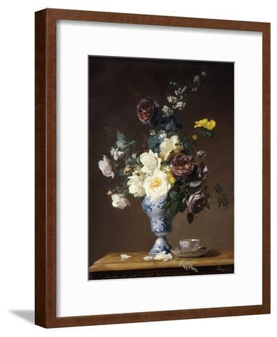 Roses and Other Flowers in a Blue and White Vase and a Teacup on a Ledge, 1876-Francois Rivoire-Framed Art Print
