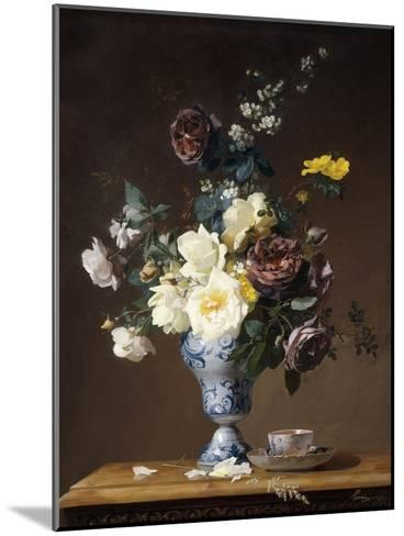 Roses and Other Flowers in a Blue and White Vase and a Teacup on a Ledge, 1876-Francois Rivoire-Mounted Giclee Print