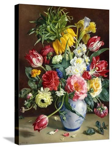 Tulips, Roses, Narcissi and Other Flowers in a Blue and White Vase-R. Klausner-Stretched Canvas Print