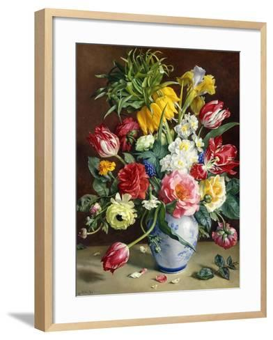 Tulips, Roses, Narcissi and Other Flowers in a Blue and White Vase-R. Klausner-Framed Art Print