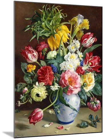Tulips, Roses, Narcissi and Other Flowers in a Blue and White Vase-R. Klausner-Mounted Giclee Print