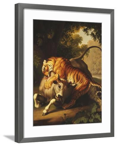 A Tiger Attacking a Bull, 1785-Johan Wenzel Peter-Framed Art Print