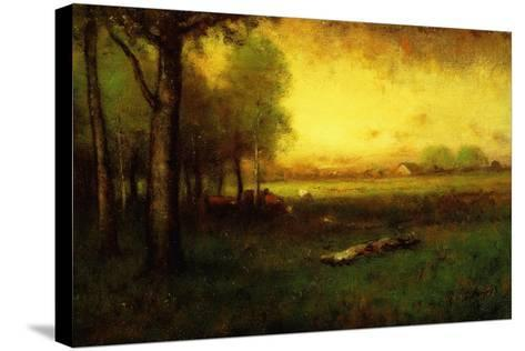 Cows Grazing at Sunset-George Snr^ Inness-Stretched Canvas Print