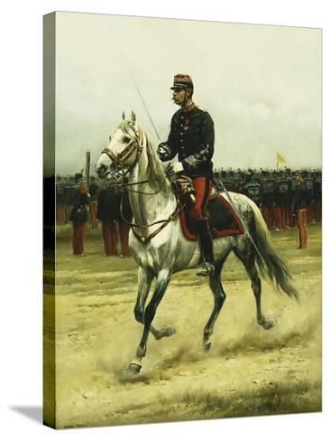 A Cavalry Officer Passing Troops, 1885-Jean-Baptiste Edouard Detaille-Stretched Canvas Print