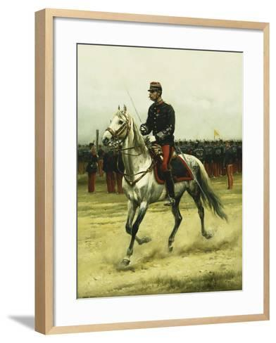 A Cavalry Officer Passing Troops, 1885-Jean-Baptiste Edouard Detaille-Framed Art Print