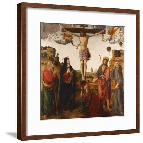 The Crucifixion with the Madonna, Saints John the Baptist, Mary Magdalen, Andrew and Francis, 1503-Cosimo Rosselli-Framed Art Print