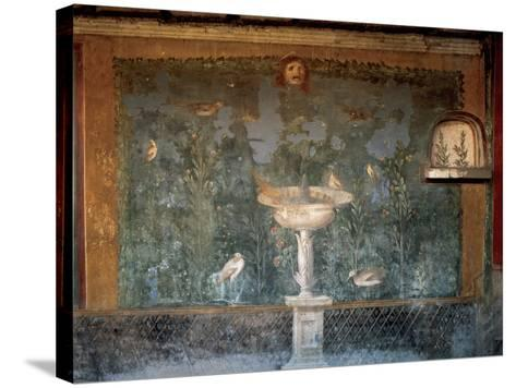 Italy. Pompeii. House of Venus. Fresco. Garden with Birds around the Fountain and Mask. 1st Century--Stretched Canvas Print