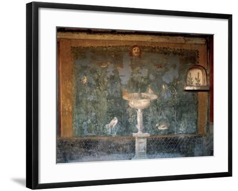Italy. Pompeii. House of Venus. Fresco. Garden with Birds around the Fountain and Mask. 1st Century--Framed Art Print