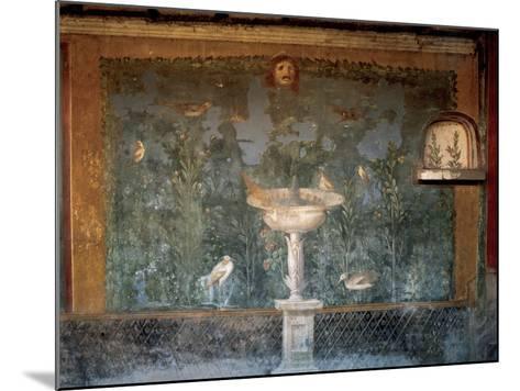 Italy. Pompeii. House of Venus. Fresco. Garden with Birds around the Fountain and Mask. 1st Century--Mounted Giclee Print
