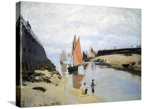 Breakwater at Trouville, Low Tide, 1870-Claude Monet-Stretched Canvas Print
