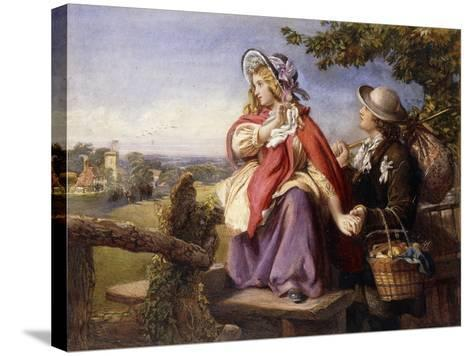 Rustic Lovers Crossing a Style, C.1860--Stretched Canvas Print