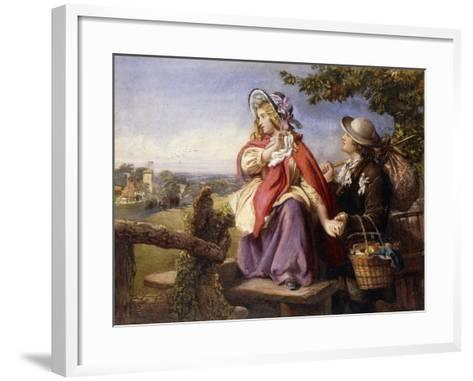 Rustic Lovers Crossing a Style, C.1860--Framed Art Print