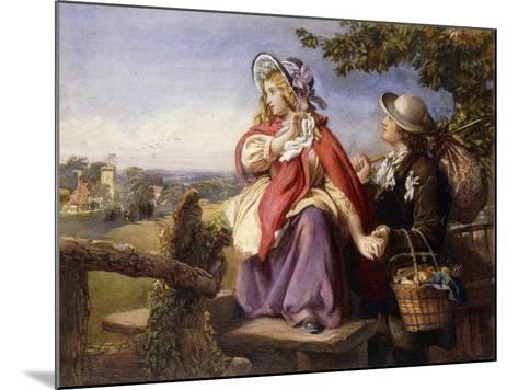 Rustic Lovers Crossing a Style, C.1860--Mounted Giclee Print