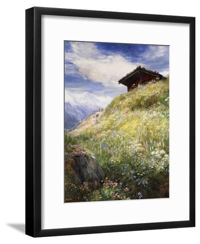 An Alpine Meadow, Switzerland-John MacWhirter-Framed Art Print