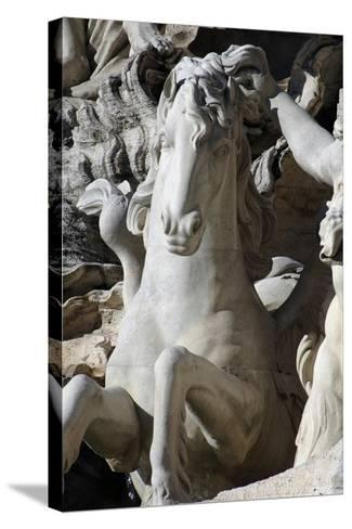 Italy. Rome. Fontana Di Trevi. 18th Century. Sea Horse--Stretched Canvas Print