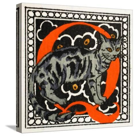 C' for Cat-Georges Barbier-Stretched Canvas Print