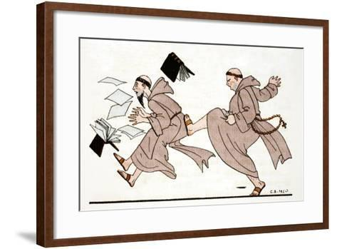 Being Chased by the Abbot, 1920-Georges Barbier-Framed Art Print