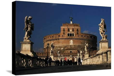 Italy. Rome. Saint Angelo Bridge and Hadrian's Mausoleum--Stretched Canvas Print