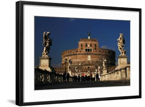 Italy. Rome. Saint Angelo Bridge and Hadrian's Mausoleum--Framed Art Print