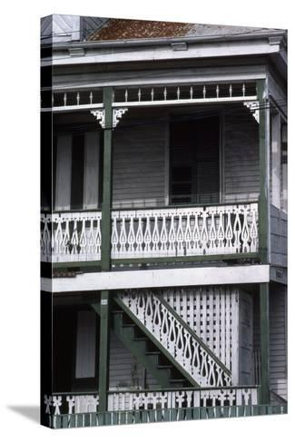 Detail of a Traditional House, Belize City, Belize--Stretched Canvas Print