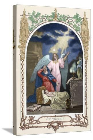 Saint Monica (331-387 A.D.) Trusting God Saves Her Son. Allegory About Hope. Colored Engraving--Stretched Canvas Print