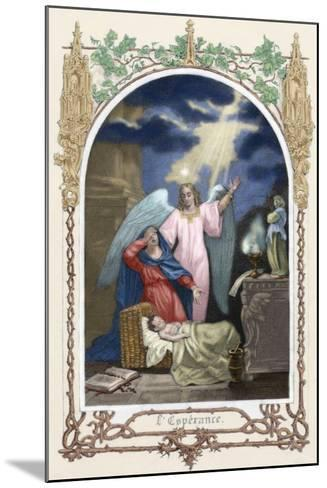 Saint Monica (331-387 A.D.) Trusting God Saves Her Son. Allegory About Hope. Colored Engraving--Mounted Giclee Print