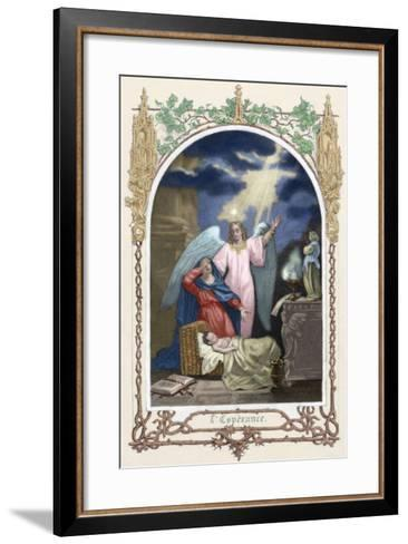 Saint Monica (331-387 A.D.) Trusting God Saves Her Son. Allegory About Hope. Colored Engraving--Framed Art Print