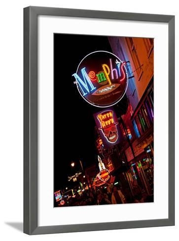 Beale Street at Night in Memphis Tennessee--Framed Art Print