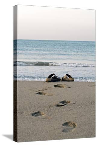 Sandals on a Beach, Spain-Carlos Dominguez-Stretched Canvas Print
