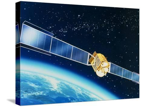 Artwork of the Telecom 1A Communications Satellite-David Ducros-Stretched Canvas Print