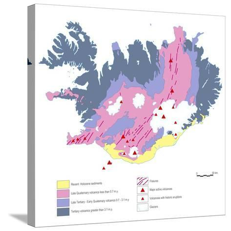 Geological Map of Iceland-Gary Gastrolab-Stretched Canvas Print