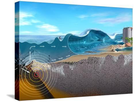 Underwater Earthquake And Tsunami-Jose Antonio-Stretched Canvas Print