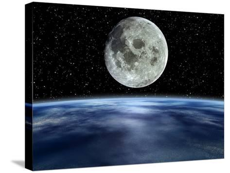Computer Artwork of Full Moon Over Earth's Limb-Julian Baum-Stretched Canvas Print
