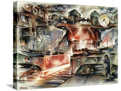 Oberhausen Steelworks, Artwork-CCI Archives-Stretched Canvas Print