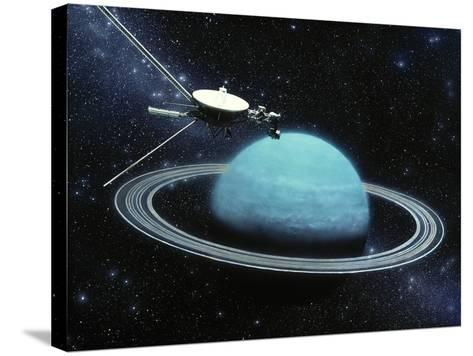 Artwork Showing Voyager 2's Encounter with Uranus-Julian Baum-Stretched Canvas Print