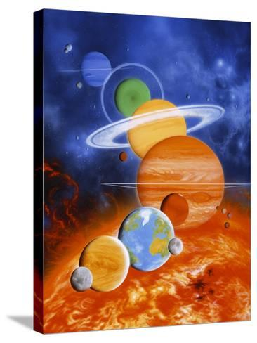 Artwork of Sun And Planets of Solar System-Julian Baum-Stretched Canvas Print