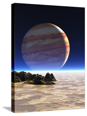 Artwork of Europa's Surface with Jupiter In Sky-Julian Baum-Stretched Canvas Print