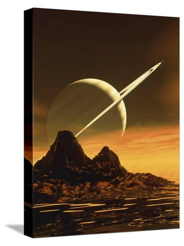Computer Artwork of Titan's Surface And Saturn-Julian Baum-Stretched Canvas Print