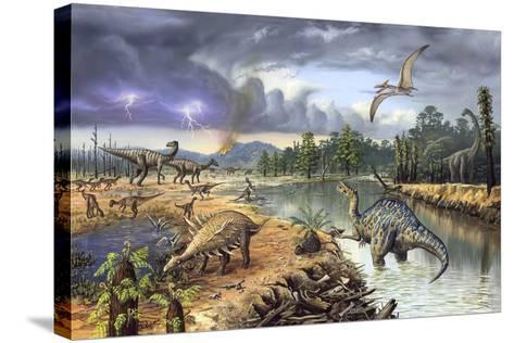 Early Cretaceous Life, Artwork-Richard Bizley-Stretched Canvas Print