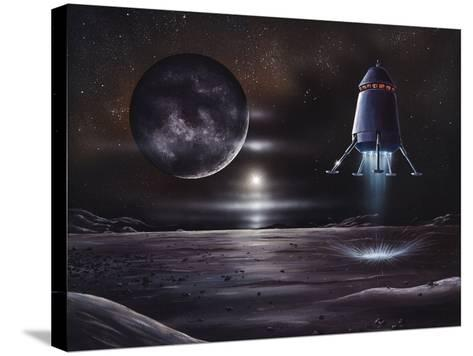 Manned Mission To Charon, Artwork-Richard Bizley-Stretched Canvas Print
