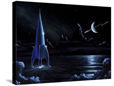 Space Rocket And Ringed Planet, Artwork-Richard Bizley-Stretched Canvas Print