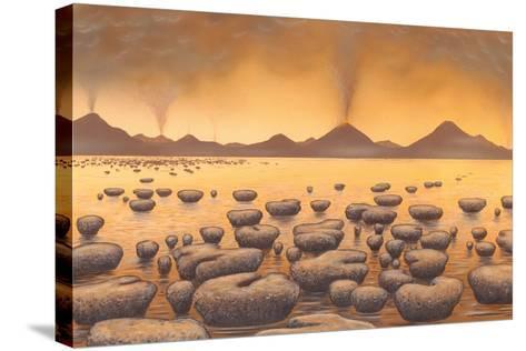 Early Stromatolites, Artwork-Richard Bizley-Stretched Canvas Print