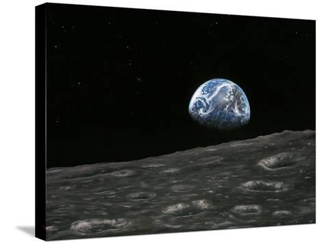 Earthrise Photograph, Artwork-Richard Bizley-Stretched Canvas Print