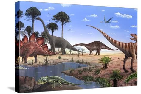 Jurassic Dinosaurs, Artwork-Richard Bizley-Stretched Canvas Print