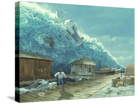 Artwork of a Tsunami Destroying a Small Harbour-Chris Butler-Stretched Canvas Print
