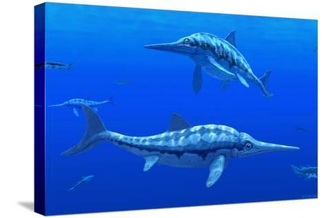 Ichthyosaur Marine Reptiles-Chris Butler-Stretched Canvas Print