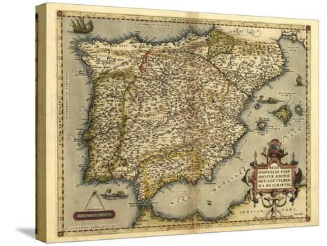 Ortelius's Map of Iberian Peninsula, 1570-Library of Congress-Stretched Canvas Print