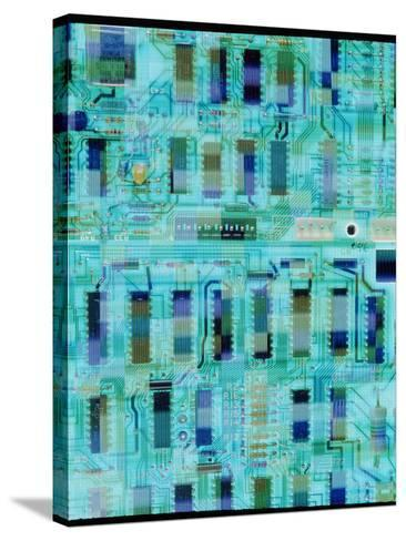 Abstract Image of a Circuit Board.-Tony Craddock-Stretched Canvas Print